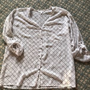 CAbi button down blouse with gathered sleeves